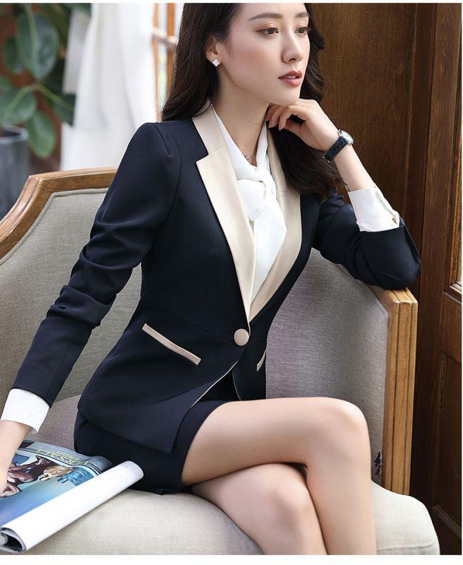 秋冬季职业套装女士时尚长袖西装修身显瘦酒店工作制服