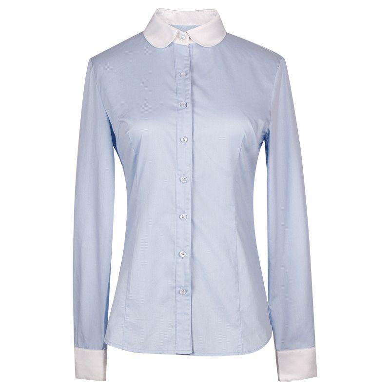 冬款新品 娃娃领拼接 撞色职业衬衫 女甜美气质长袖修身商务衬衣