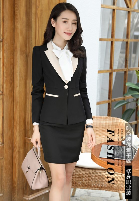 秋冬季职业套装 三件套女装 女士时尚长袖西装修身显瘦酒店工作制服