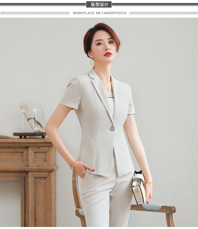 职业套装 女两件套裙 夏季短袖 银行东莞工作服 酒店前台 商务正装 西服西装
