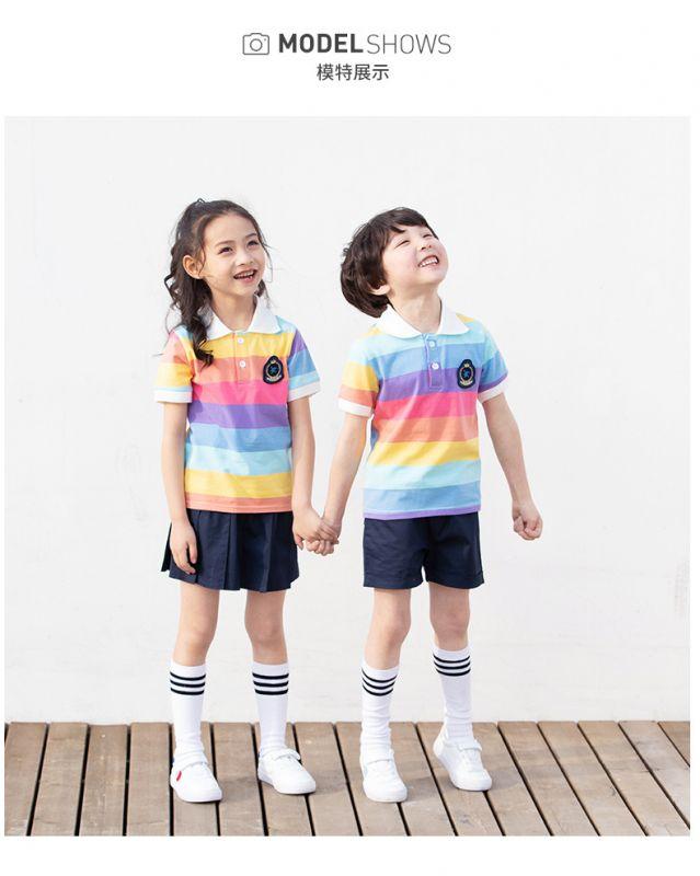 夏季幼儿园园服 夏装小学生校服 纯棉套装男女儿童班服 校服运动套装
