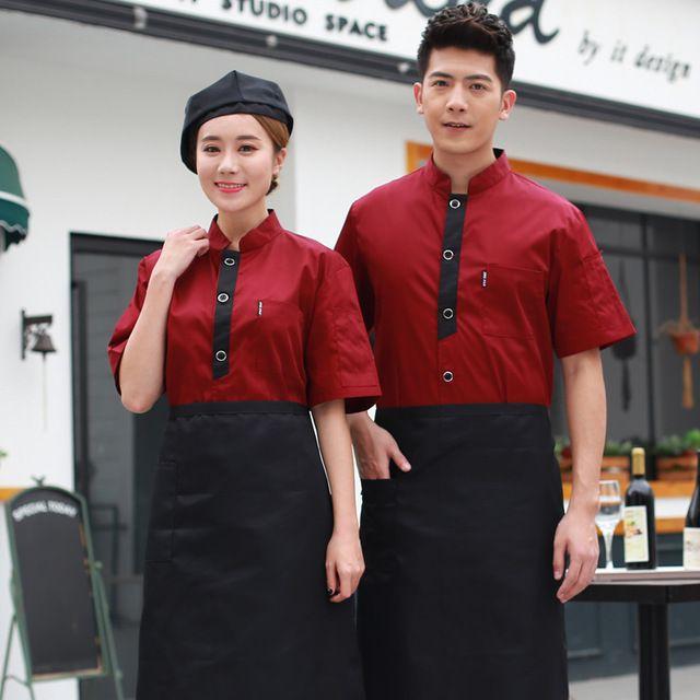 厨师服短袖 酒店餐饮饭店厨房东莞工作服 后厨食堂面点半袖夏装 男女制服