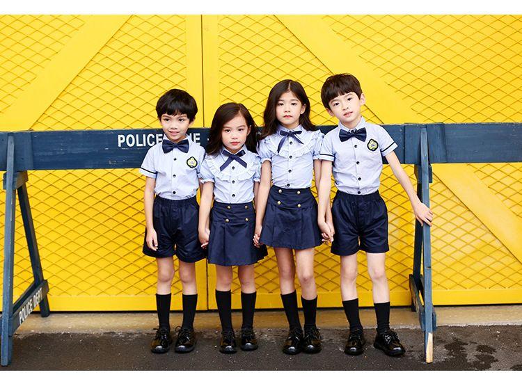 2019夏季新款幼儿园园服 小学生校服纯棉 男女儿童六一表演服学院风