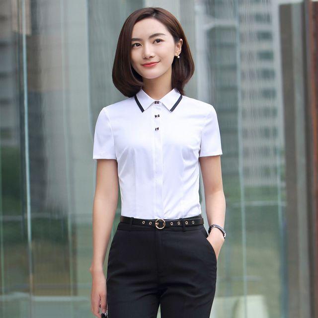 春夏新款 韩版职业套装 女装套裙白色短袖衬衫女时尚工作服正装套裙