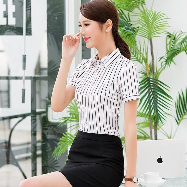 移动工作服 短袖白色衬衫 工装女士服务员酒店前台制服KTV衬衣夏季