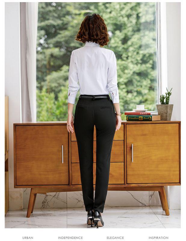 秋装新款时尚 职业套装V领 修身暗条纹棉质 正装工作服 暗扣白衬衫女