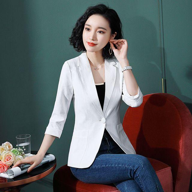 白色西装外套2019春秋新款时尚气质韩版西服职业修身美容院工装