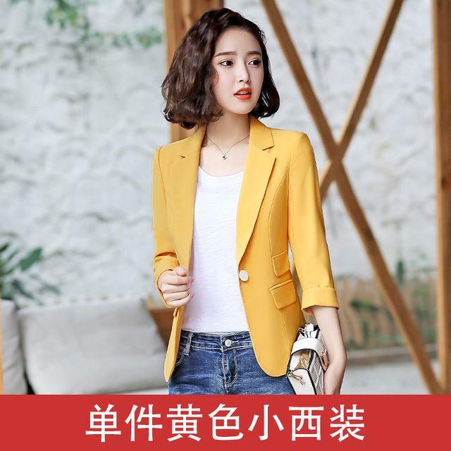2019新款夏季薄款韩版修身短款休闲中袖西服女士上衣