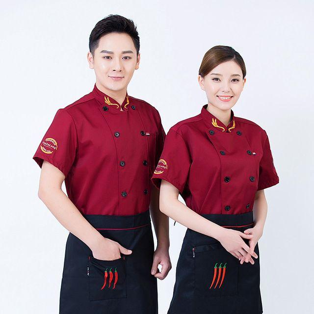 厨师服短袖夏装新款 透气薄款酒店餐饮厨师长 后厨房厨师工作服半袖