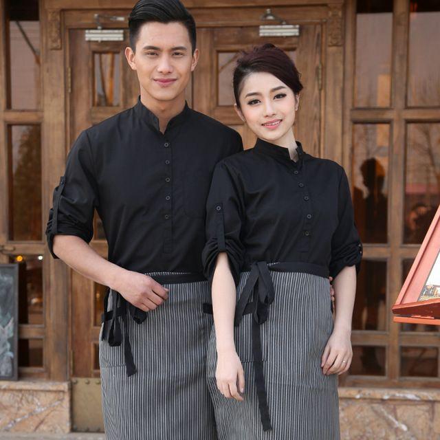 夏装女西餐厅服务员短袖 咖啡厅秋冬装火锅店饭店长袖