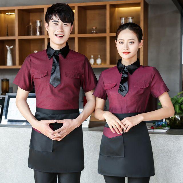 餐饮服务员工作服夏季 短袖透气衬衫 西式意大利餐厅咖啡酒吧甜品店