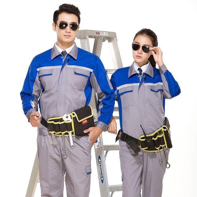 地勤劳动套装耐磨多口袋反光条劳保服
