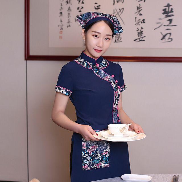 纯棉兰花布民族特色农家乐酒店中餐厅夏季工作服男女