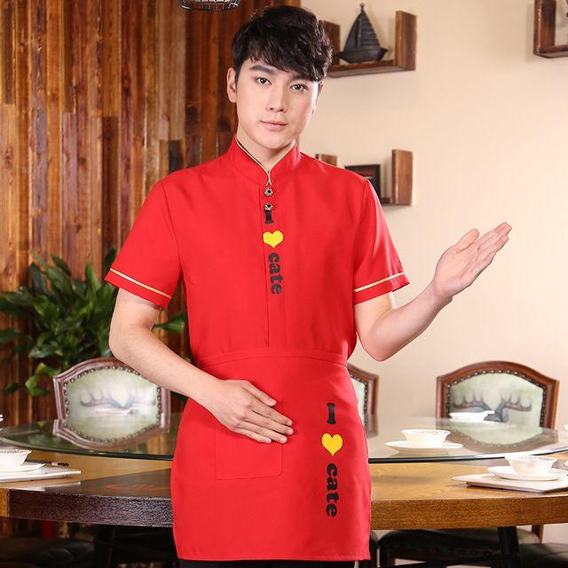 新款酒店餐厅服务员工装 饭店火锅店男女款短袖服务员工作服