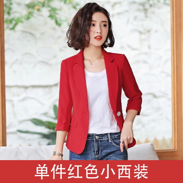 小西装女外套2019新款夏季薄款韩版修身短款休闲中袖西服