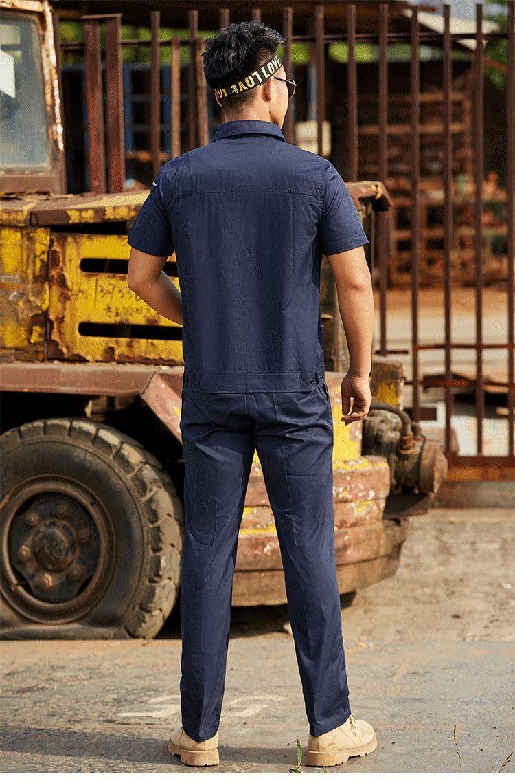 耐磨电焊工装工程服汽修车间工厂服涤棉短袖套装工作服MB-ZM-11